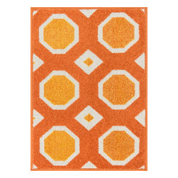 """Loloi Rugs - Loloi Rugs Terrace Collection - Orange / Ivory, 3'-0"""" x 3'-0"""" Round - Bold design and bright colors come together beautifully in the outdoor-friendly Terrace Collection. Each Terrace rug is power loomed in Egypt of 100% polypropylene that's specially treated to withstand rain and UV damage without staining or fading color.�"""