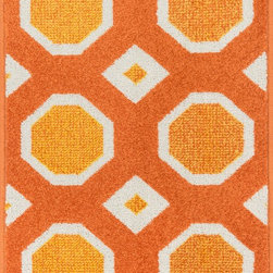 "Loloi Rugs - Loloi Rugs Terrace Collection - Orange / Ivory, 3'-0"" x 3'-0"" Round - Bold design and bright colors come together beautifully in the outdoor-friendly Terrace Collection. Each Terrace rug is power loomed in Egypt of 100% polypropylene that's specially treated to withstand rain and UV damage without staining or fading color.�"