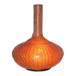 Jeffan International - Longneck Medium Floor Lamp w Woven Wicker Wrapped Shade - Like a genie's lamp, this exotic floor lamp will be an eye catching, memorable addition to your interior design. Constructed of amber fiberglass with woven wicker detailing for added visual interest, the lamp will be an innovative way to add accent lighting to any decor. Bulb not included. Requires one 40/60 watt bulb. Onion shaped. Unique lighting for creating great ambiance. Recognized by HGTV for its innovative design. Finished with black wooden base. Used in traditional or transitional spaces. 7 ft. electrical cord with on/off switch. Made from fiberglass and wicker. Made in Indonesia. No assembly required. 28 in. L x 28 in. W x 40 in. H (13 lbs.)