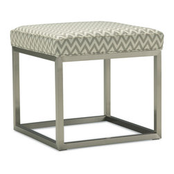 Duncan Cube Ottoman - I love the chrome base on this small, zigzag ottoman.