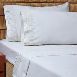 Symphony - 1000 Thread Count Egyptian Cotton Sheet Set with Luxury Soft Lace - A luxury lace design gives this Egyptian cotton sheet set a sophisticated look that will brighten any room. Crafted with a soft cotton-polyester blend,these 1000 thread count sheets are available in several fun colors.