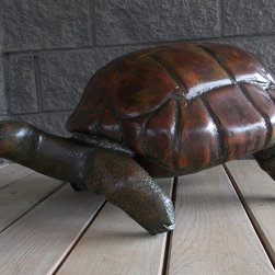 """WoodStream Art - Beautifully Colored, large, hand carved and constructed tortoise. Furniture quality finish. height 14"""", 17"""" x 29"""""""