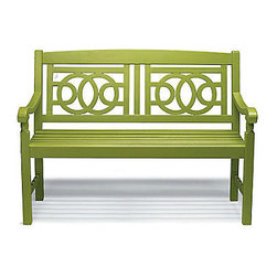 Amalfi Bench - This cute green bench would work in the space and it has a Chinoserie motif, something that was used in the designer room.