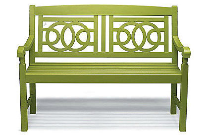 eclectic outdoor stools and benches by Grandin Road