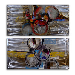 Rolling boil Hand Painted 2 Piece Aluminum Painting Set - Bring to a rolling boil, then simmer. This set of abstract paintings bubbles with vigorous life, the brushstrokes imparting movement and color. On a solid white wall, this original duo will make your living room pop.