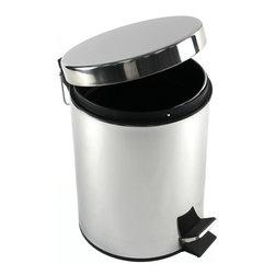 Gedy - Round Polished Chrome Waste Bin With Pedal - Modern, round waste bin with pedal and cover.