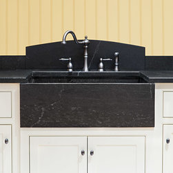 Soapstone farm sink with curved backsplash - Soapstone materials from Jewett Farms + Co.