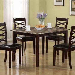 Monarch - Dark Cherry Marble Veneer 5Pcs Dining Set - This casual, five piece dining set offers classic styling that will blend with any decor. The rectangular table features a marble veneer top, which draws the eye with its muted shades of cream, onyx and gray that provide a durable yet beautiful surface. The dark cherry edges and sleek shaker legs are also echoed in the armless side chairs, which feature a criss-cross design with padded upholstered seating for comfort. The clean lines of this set will help create a timeless look that you and your family will love.