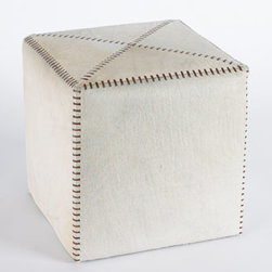"Jamie Young - Jamie Young Small White Hairhide Ottoman - Ottomans with stitched details are upholstered in your choice of buff leather or white hairhide. From Jamie Young. Imported Large, 25""Sq. x 20""T. Small, 17""Sq. x 17""T."