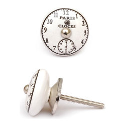 "Knobco - Ceramic Knob, Black and White - Black clock on a white ceramic cabinet knob, perfect for your kitchen and bathroom cabinets! The knob is 1.5"" in diameter and includes screws for installation."