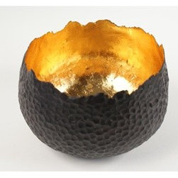 Bronze Gold Leaf Chedi Bowl - This gorgeous bowl literally glows. Made from hammered bronze and gold leaf, it adds metal and an exotic touch to any surface in your home, whether you use it in the dining room or on the dresser to old your jewelry.