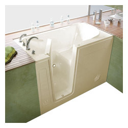 Spa World Corp - Meditub 30x54 Left Drain Biscuit Soaking Walk-In Bathtub - Meditub's walk-in bathtub offers safety and independence in an elegant package. Featuring safety features such as a built in color matched grab bar, non-slip floor texture and a wide swinging door for easy entering and exiting of the tub. Fusing the industry�s highest standards for quality construction with an inspired artistic vision offering a beautifully glossy finish reinforced with a stainless steel frame and 6 adjustable legs for leveling. Also included is an ADA compliant contoured seat for comfortable support.