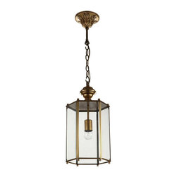 Lantern Shaped Brass Pendant Light in Polished Bronze - Brighten up your dinning room, living room or kitchen with this lovely latern shaped pendant light. Finished in polished antique brass, this pendant light is a great lighting fixture to enhance your home decor. The dynamic and creative design of this lamp makes it both visually stunning and functional.