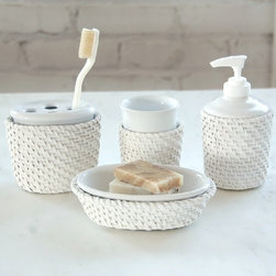 None - Cayman White Rattan/Ceramic-insert Bath Accessory 4-piece Set - Complete your bathroom with this Cayman bath set.  These bath accessories showcase a painted soft white rattan core and peel with coordinating white ceramic inserts.