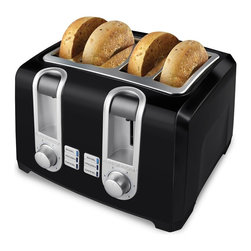 Applica - Black and Decker 4-Slice Toaster in Black - Extra wide slots. Bagel, frozen, cancel and toast shade functions. Two removable crumb trays. Function indicator light. Cord wrap for convenient storage. Voltage: 1500 wattsDouble your toasting options! With dual independent controls, you can toast two slices of bread or two waffles at the same time to suit individual preference. Select the Bagel Mode to toast your favorite bagels golden brown on the cut side and deliciously warm on the outside.