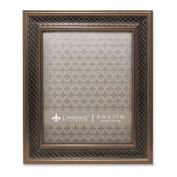Lawrence Frames - 8x10 Haber Bronze Lattice Picture Frame - High quality burnished bronze composite picture frame with lattice embossing.  Beautifully finished picture frame that will be a great decorative addition to any room.  Comes with a two way easel for vertical or horizontal table top display, and hangers for vertical or horizontal wall mounting.  High quality black velvet backing.  Picture frame comes with glass to protect your photo, and is individually boxed.