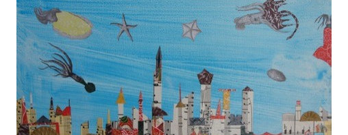 Small Squid Take To The Skies (Original) by Mickey Bond - Four squid who share a pension for flight cruise over an imagined skyline.  Several smaller friends accompany them.  A lyrical mixed media painting depicting an imaginary world where flight is open to many life forms.