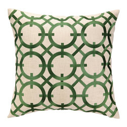 """DL Rhein - DL Rhein Parisian Lights Kelly Embroidered Pillow - Known for unexpected combinations, DL Rhein effortlessly weaves sophistication, worldly influence and fresh color into its contemporary home decor collection. Elegant and abstract, the Loop de Loop pillow accents a sofa or couch with an eye-catching design. Offering a modern interpretation of a classic pattern, this beige accessory features embroidered citron kelly green circles in a geometric lattice motif. Made from 100% ramie. Dry clean only. Feather down fill insert included. 20""""W X 20""""H."""