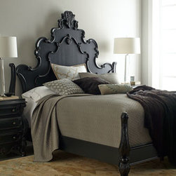 Horchow - Nicolette Black King Bed - Exclusively ours. Ornate shapes, intricate curves, and detailed flourishes are the hallmarks of this impressive bedroom furniture. Save with discounted delivery and processing charges when you order a set. Queen set includes queen bed and two nightst...