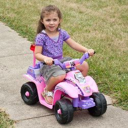 Lil Rider - Lil Rider Mini 4 Wheeler ATV Battery Powered Riding Toy Multicolor - 80-7018 - Shop for Tricycles and Riding Toys from Hayneedle.com! Don't let the girly colors fool you - the Lil Rider Battery Powered Pink/Purple Mini ATV 4 Wheeler Riding Toy has all the makings of one tough ride. Even the boys will be clamoring for their chance to ride this toy once they get a close look at the cool decals and hear the realistic sound effects. This ATV moves forward and backward up to 3 MPH - just right for the kids to have fun and Mom and Dad to have no trouble keeping up. A 6V rechargeable battery gives it power. 2 AA batteries will be needed to power the sound effects.About Trademark Global Inc.Located in Lorain Ohio Trademark Global offers a vast selection of items for your home and lifestyle. Whether you need automotive products collectibles electronics general merchandise home and garden items home decor house wares outdoor supplies sporting goods tools or toys Trademark Global has it at a price you can afford. Decor items and so much more are the hallmark of this company.