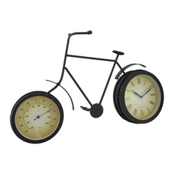 """Zeckos - Vintage Bicycle Clock and Thermometer Wall Hanging - Reminisce of an earlier """"time"""", when life was carefree and the pedals didn't stop until the sun went down This retro-style bicycle clock will add a nostalgic accent to any room, and features a quartz movement clock in the back tire, and a thermometer in the front tire It boasts a matte black enamel finish, and the quartz movement runs on just one AA battery (not included), and is accessible from the back side of the clock. This classic timepiece, featuring bold easy to read roman numeral numbers and highly visible hands, would look great on the wall whether in your home, or at the office, and it easily mounts using the attached hangers on the back. It's a wonderful statement piece at 22 inches (56 cm) long, 14.25 inches (36 cm) high and 3.5 inches (9 cm) deep, and makes a wonderful gift sure to be admired"""