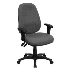 Flash Furniture - High Back Gray Fabric Ergonomic Computer Chair with Height Adjustable Arms - This black computer task chair has all the features needed to ensure that comfort even on the days that seem never-ending. Characteristics such as built-in lumbar support, height adjustable seat, back, and arms, and its ergonomic design make this task chair perfectly customizable for your use.