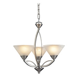Elk Lighting - Elysburg 3-Light Chandelier in Satin Nickel - The geometric lines of this collection offer harmonious symmetry with a sophisticated contemporary appeal. A perfect complement for kitchens, billiard parlors, or any area that requires direct lighting. Featured in satin nickel with white marbleized glass or aged bronze finish with tea stained brown swirl glass.