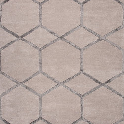 Jaipur Rugs - Modern Geometric Pattern Gray /Black Wool/Silk Tufted Rug - CT15, 8x11 - Over scaled sharp geometrics characterize this striking contemporary range of hand tufted rugs. The high/low construction in wool and art silk creates texture and surface interest and gives a look of matt and shine.