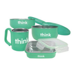ThinkBaby - Thinkbaby BPA Free Teal Feeding Set - The Thinkbaby four-piece set is intended for children's snacks and lunches, but don't be surprised if they end up in your briefcase. Each piece, while perfect for Pirate's Booty and Cheerios, will also hold the things you love like edamame and your morning oatmeal.