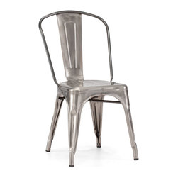 Zuo - Elio Dining Chair, Gunmetal - This Elio Dining Chair, reminiscent of old Parisian bistros, is a classic chair that can go in a variety of dining areas.  This chair, made of steel, is quaint and durable.  The Elio Dining Chair is available in several vintage colors that can add a pop of color to your space.  Choose from gunmetal, white, antique black gold, red or rustic wood to add the perfect accent seating at your dining table.  No matter the size of your dining table, you can add as few or as many of the Elio Dining Chair as you like. Sold as a set of two (package cannot be broken); price shown is for one.