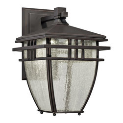 "Designers Fountain - Arts and Crafts - Mission Drake 12 3/4"" High LED Aged Bronze Outdoor Wall Light - This marvelous aged bronze patina finish outdoor wall light is inspired by classic Mission-style designs with a touch of elegant Asian influence. The curve-shape lantern features charming clear seedy glass that enhances and protects the light produced by an energy-saving LED array. A rectangular wall plate completes this stylish look that will add grace and allure to your home for years to come. Mission-inspired LED outdoor wall lantern. Aged bronze patina finish. Metal construction. Clear seedy glass. Includes 12 watt LED array. Light output is 341 lumens 3000K color temperature. Comparable to 25 watt incandescent bulb. UL-listed for wet outdoor locations. 9"" wide. 12 3/4"" high. Extends 10"".   Mission-inspired LED outdoor wall lantern.  Aged bronze patina finish.  Metal construction.  Clear seedy glass.  Includes 12 watt LED array.  Light output is 341 lumens 3000K color temperature.  California Title 24 compliant.  Comparable to 25 watt incandescent bulb.  UL-listed for wet outdoor locations.  9"" wide.  12 3/4"" high.  Extends 10""."