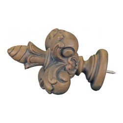The Merchant Source - 1 3/8 in. Compatible Finial - Fleur De Lis (Faux Wood) - Finish: Faux Wood. Compatible with any 1-3/8 inch curtain rod, this lovely French style Fleur de Lis finial will add an elegant European style touch to any window treatment. Available in a wide selection of decorator style finishes, you're sure to find the perfect complement to your decor. Made of Resin. 5 in. L x 3 in. W (1 lbs.)