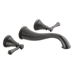 """Delta - Delta 3597LF-RBWL Cassidy Series Two-Handle Wall-Mounted Lavatory Faucet - The Delta 3597LF-RBWL is a Cassidy Series two handle Wall-Mounted Lavatory Faucet. This wall-mounted lavatory faucet features a solid brass fabricated body, an 8"""" widespread installation, 1/4 turn handle stops, and 1/2""""-14 NPT threaded female inlets for easy installment. It has a 9-9/16"""" long rigid spout that is reminiscent of an elephant's trunk, and it comes in a dramatic, Venetian Bronze finish."""