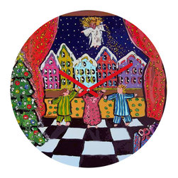 "DENY Designs - DENY Designs Renie Britenbucher Christmas Angel Round Clock - Talk about a small home decor accessory that makes a HUGE impact! Our affordable 12""Round Clock comes complete with the artwork of your choice and coordinating clock hands. Hang it on it's own or group it in a collection. Time's a tickin'!"