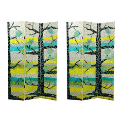 Oriental Unlimted - 3-Panel Sylvan Collage Canvas Room Divider - One double-sided divider, both sides shown in image. Sturdy, lightweight and practical floor screen room divider. Well crafted kiln dried Spruce frames covered with art quality canvas. Subtle, beautiful and unique art collage design. Each panel: 15.75 in. W x 70.88 in. H. Base weight: 8.25 lbs.