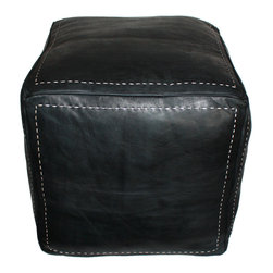 Badia Design Inc. - Moroccan Square Leather Ottoman, Black - Our Moroccan Leather Ottoman can be used as seating, footstool or decoration in any room in your home or office.