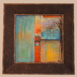 Original Abstract Paintings By Artist Judy Mintze - Original abstract paintings.  Set of 2.  Professionally framed.