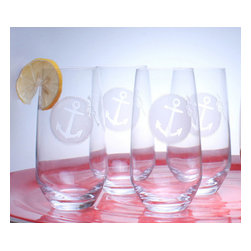 Rolf - Anchorage Etched Cooler Glasses - Say anchors away and start your evening with these cute stemless wine glasses boasting a classic etched anchor design for a timeless nautical look. This set of Rolf Glass Anchorage Highballs is perfect for anyone that is a Maritime Enthusiast or wants a summer type themed set. Pair with the matching Anchorage Pitcher, item# RF235714, to bring the feeling of a spring meadow, or a coastal shoreline to your table! * Set of 4 * Capacity: 15.5 ounces