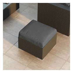 Urbana Modern Wicker Ottoman, Charcoal Cushion