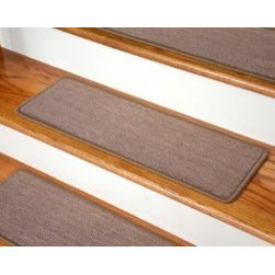 """Dean Flooring Company - Dean Premium Carpet Stair Treads - Keaton Taupe (13) 27"""" x 9"""" - Dean Premium Carpet Stair Treads - Keaton Taupe (13) 27"""" x 9"""" : Premium Carpet Stair Treads  by Dean Flooring Company.  Color: Keaton Taupe.  Material: Polypropylene.  Edges: Finished (serged) with attractive color matching yarn. The size of each tread measures approximately 27"""" x 9"""".  Easy to spot clean and vacuum.  Helps prevent slips on your hardwood stairs.  Great for helping your dog easily navigate your slippery staircase.  Reduces noise.  Reduces wear and tear on your hardwood stairs.  Attractive: adds a fresh new look to your staircase.  Easy DIY installation with double sided carpet tape or (not included - sold separately).  Add a touch of warmth and style to your home today with stair treads from Dean Flooring Company!"""