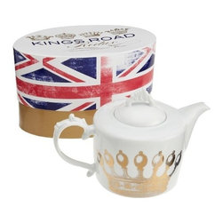 """Rosanna - Kings Road Teapot By Rosanna - Celebrate the """"high holidays"""" in style with this Rosanna classic brought back to life. Mixing modern forms with Baroque embellishments, King's Road Redux takes an inventive approach to tableware, while still retaining its majesty"""