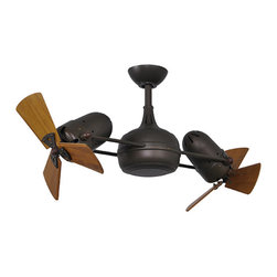 Heavy Spun and Stamped Steel - Dagny Textured Bronze 40-Inch Dual Rotational Ceiling Fan with Wood Blades - - The double-headed rotational ceiling fan, Dagny, with cylindrical central housing and straight, parallel arms, is designed in the retrospective aesthetic. The Dagny offers fluid lines and quiet axial rotation. The motor heads can be infinitely positioned in 180-degree arcs for optimum air movement; the greater the angles of the motors to the horizontal support rods (up or down), the faster the axial rotation. A slow, controlled axial ?rotation is achieved by both motor head position and fan blade speed. Matthews rotational fans circulate heat and air-conditioning more efficiently than traditional paddle fans. Materials: Cast aluminum. Heavy stamped steel. Solid, ecologically harvested mahogany. Optimum Fan Head Position is 60 degrees. Not recommended for salt water/ocean front applications.   - Color: Brown  - Blade Material: Wood  - Number of Blades: 6 (3 blades each fan head)  - Blade Sweep: 38-Inch  - Remote Control Included  - Blades Included  - Included Downrod Length: 10-Inch Matthews Fan - DG-TB-WD