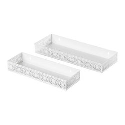 Chantilly Wall Shelves, White, Set of 2 - These lace-like shelves may look delicate, but they're strong enough to provide extra shelving where needed. Hang them in a dressing room or beside a vanity to add a feminine flair and a place to corral makeup bottles and perfumes.