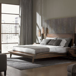 Lexington - 11 South Urbana Platform Bed - 11 South is a breakout collection of fresh contemporary designs. Clean architectural lines in the case pieces offer a stylish counter-point to the sweeping wave pattern of the Urbana Sleigh Bed. Metal Bases on many items compliment custom horizontal drawer pulls, demonstrating that'sophisticated contemporary design is born of clean lines and symmetry. Designs are warm and inviting, approachable and comfortable. Features: -Crafted of walnut veneers and select hardwoods in umbria.-Gray undertones.-Contemporary wave requires the mattress only as the slat support system replaces the need for a box spring.-Distinctive sweeping wave profile.-Bottom of side rail to floor is 7''.-Distressed chestnut brown finish.-11 South Collection.-Distressed: Yes.-Collection: 11 South.Dimensions: -Overall Product Weight: 395 lbs.