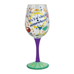Westland - 9 Inch It's 5 o'clock Somewhere Multi-Colored 15 Ounce Wine Glass - This gorgeous 9 Inch It's 5 o'clock Somewhere Multi-Colored 15 Ounce Wine Glass has the finest details and highest quality you will find anywhere! 9 Inch It's 5 o'clock Somewhere Multi-Colored 15 Ounce Wine Glass is truly remarkable.