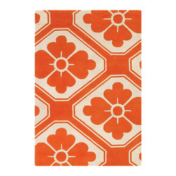 Thomas Paul - Thomas Paul Obi Pumpkin Wool Rug - Intermingling floral and geometric pattern, art deco and graphic styles meet on Thomas Paul's Obi rug. The floor covering's pumpkin orange and ivory palette adds modern flair. Available in several sizes; 100% New Zealand wool with cotton backing; Hand tufted; Pattern differs according to rug size (see images); Strong, resilient and static resistant for use in high-traffic areas; Some difference in color, size or shape is consistent with the nature of handmade products; Shedding is characteristic of fine wool and part of the natural wear-in process; Spot cleaning by hand or professional cleaning recommended; Rug pad recommended