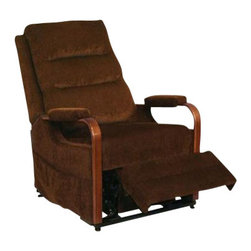 "Catnapper - Catnapper Emerson Power Lift Full Lay-Out Recliner Chair in Brazil - Catnapper - Recliners - 4845171929 - The Emerson ""Power Lift"" Full Lay-Out Recliner by Catnapper features contemporary styling with triple pad back design and bentwood cherry arm with soft pad comfort. It is provided with sturdy and durable seal seat box, as well as very convenient magazine pocket. The Emerson Collection is available in ""Tan"" and ""Brazil"" color fabric."