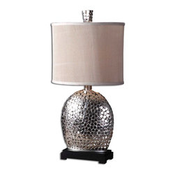 Uttermost - Billy Moon Harrison Silver Contemporary Table Lamp X-1-24972 - To create the visually stunning look of the base on this uttermost table lamp, dozens of small nickel plated squares have been layered onto a curvilinear frame. From the Harrison silver collection, this design also features a matching finial and dark matte black finished base with a classic ivory linen heavily pleated oval drum shade.