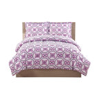 Pem America - Baroque Circles Full Comforter and Pillow Shams - Bright purple circles with a deep purple reverse make this a great coordinate to your room.  This easy care fabric is perfect for your dorm and can coordinate with a variety of accessories. 1 Full Comforter, 76x86 inches and 2 standard shams, 20x26 inches. 100% microfiber polyester face and fill. Machine washable.