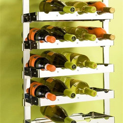 """Pegrail - 18 in. Reserva 24 Bottle Solution (Polished C - Finish: Polished ChromeIncludes:. (1) 18 in. classic pegRAIL. (2) Outriggers. (6) 16 in. Wine Racks. (6) Right outrigger sleeves. (6) Left outrigger sleeves for adjustability. The RAIL is constructed of commercial grade extruded aluminum. All metal components are commercial grade steel with matching finish. Wine racks hold 4 bottles each. Assembly is required, hardware pack included. Pictured in Polished Chrome. PDF instructions. 18 in. W x 12 in. D x 38 in H (28 lbs.)Innovation and function makes this Wine Cellar Set a timeless addition to your home. Finally, a simple and stylish organization solution can be created with the patent pending pegRAIL System. Mount the RAIL easily onto the wall. No need for clunky wall standards and brackets or side wall panels that limit flexibility. All of the other components """"click"""" into the RAIL to support a perfectly designed storage solution."""
